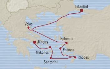 LUXURY CRUISE - Balconies-Suites Oceania Riviera October 2-9 2019 Istanbul, Turkey to Piraeus, Greece