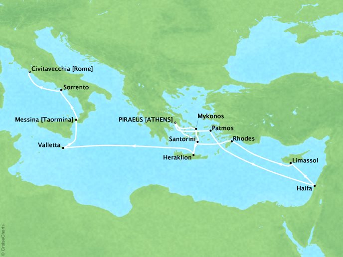 Cruises Oceania Riviera Map Detail Piraeus, Greece to Civitavecchia, Italy April 19 May 6 2017 - 17 Days