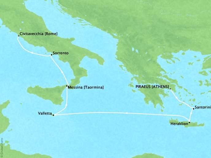 Cruises Oceania Riviera Map Detail Piraeus, Greece to Civitavecchia, Italy April 29 May 6 2017 - 7 Days