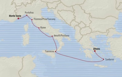 Cruises Oceania Riviera Map Detail Piraeus, Greece to Monte Carlo, Monaco August 5-13 2017 - 8 Days
