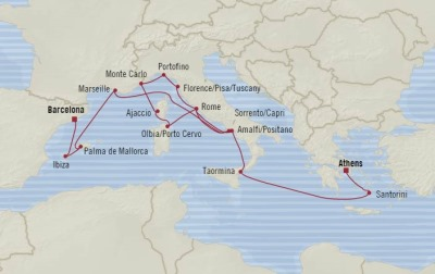 Cruises Oceania Riviera Map Detail Piraeus, Greece to Barcelona, Spain August 5-22 2017 - 17 Days