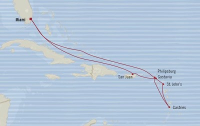 Cruises Oceania Riviera Map Detail Miami, FL, United States to Miami, FL, United States December 12-22 2017 - 10 Days