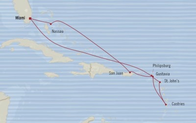 Cruises Oceania Riviera Map Detail Miami, FL, United States to Miami, FL, United States December 2-12 2017 - 10 Days