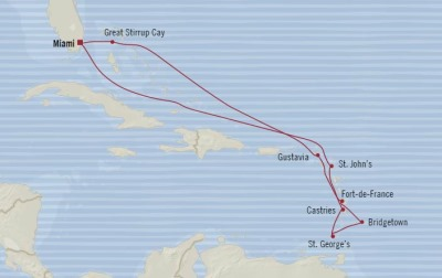 Cruises Oceania Riviera Map Detail Miami, FL, United States to Miami, FL, United States December 22 2017 January 3 2018 - 12 Days