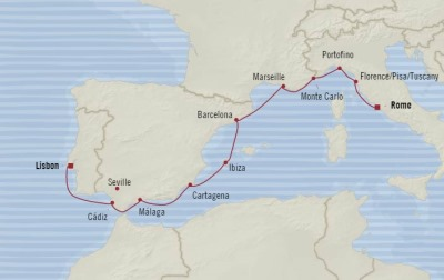 Cruises Oceania Riviera Map Detail Lisbon, Portugal to Civitavecchia, Italy July 5-16 2017 - 11 Days