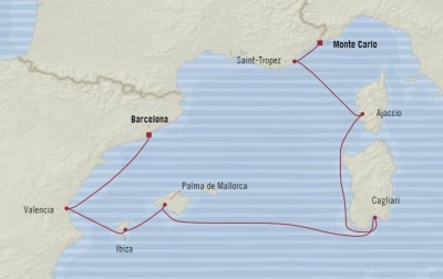 Cruises Oceania Riviera Map Detail Monte Carlo, Monaco to Barcelona, Spain June 21-28 2017 - 7 Days