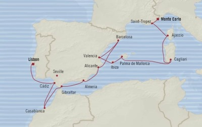 Cruises Oceania Riviera Map Detail Monte Carlo, Monaco to Lisbon, Portugal June 21 July 5 2017 - 14 Days
