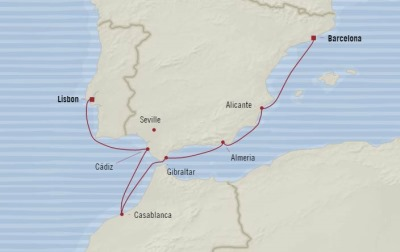 Cruises Oceania Riviera Map Detail Barcelona, Spain to Lisbon, Portugal June 28 July 5 2017 - 7 Days