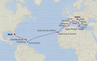 Cruises Oceania Riviera Map Detail Venice, Italy to Miami, FL, United States November 6 December 2 2017 - 26 Days