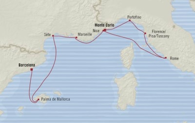 Cruises Oceania Riviera Map Detail Monte Carlo, Monaco to Barcelona, Spain October 17-25 2017 - 7 Days