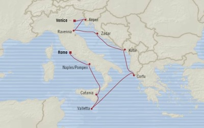 Cruises Oceania Riviera Map Detail Venice, Italy to Civitavecchia, Italy September 29 October 8 2017 - 9 Days