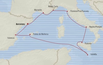 Cruises Oceania Riviera Map Detail Barcelona, Spain to Barcelona, Spain September 8-18 2017 - 10 Days