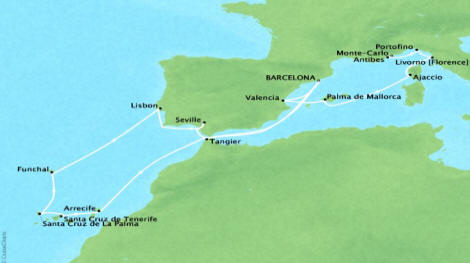 Cruises Oceania Riviera Map Detail Barcelona, Spain to Monte Carlo, Monaco April 21 May 10 2018 - 19 Days