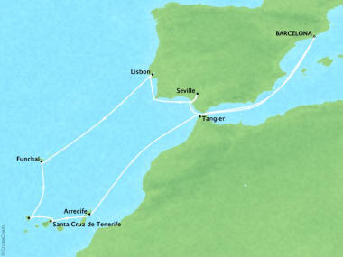 Cruises Oceania Riviera Map Detail Barcelona, Spain to Barcelona, Spain April 21 May 3 2018 - 12 Days