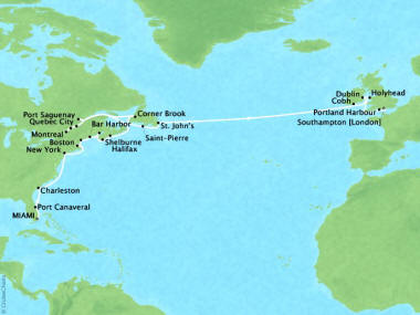 Cruises Oceania Riviera Map Detail Miami, FL, United States to Southampton, United Kingdom April 22 May 23 2018 - 31 Days