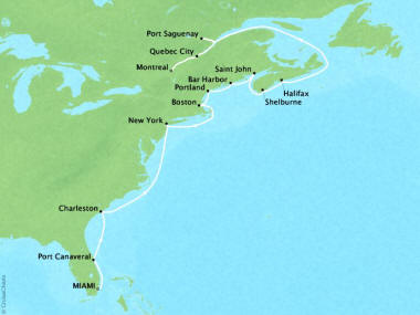 Cruises Oceania Riviera Map Detail Miami, FL, United States to Montreal, Canada April 22 May 8 2018 - 16 Days