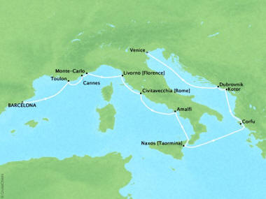 Cruises Oceania Riviera Map Detail Barcelona, Spain to Venice, Italy August 1-13 2018 - 12 Days