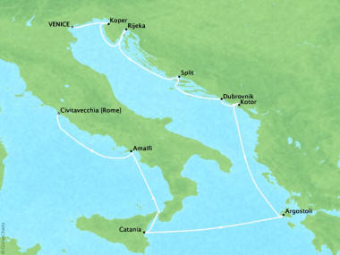 Cruises Oceania Riviera Map Detail Venice, Italy to Civitavecchia, Italy August 13-23 2018 - 10 Days