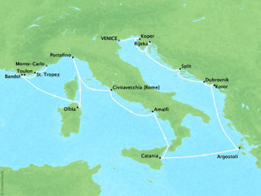 Cruises Oceania Riviera Map Detail Venice, Italy to Monte Carlo, Monaco August 13-30 2018 - 17 Days