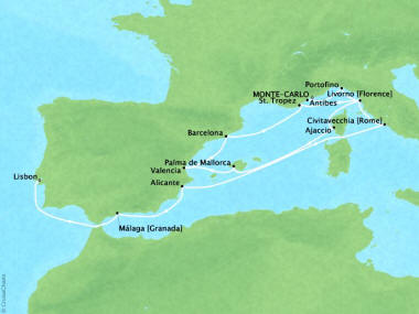 Cruises Oceania Riviera Map Detail Monte Carlo, Monaco to Lisbon, Portugal August 30 September 14 2018 - 15 Days