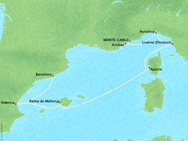 Cruises Oceania Riviera Map Detail Monte Carlo, Monaco to Barcelona, Spain August 30 September 6 2018 - 7 Days