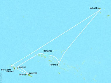 Cruises Oceania Riviera Map Detail Papeete, French Polynesia to Papeete, French Polynesia February 13-25 2018 - 12 Days