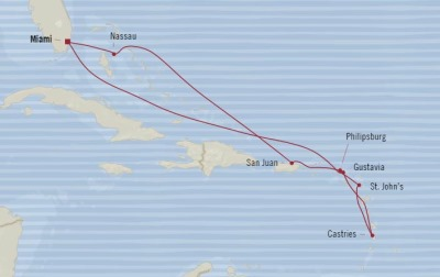 Cruises Oceania Riviera Map Detail Miami, FL, United States to Miami, FL, United States February 16-26 2018 - 10 Days