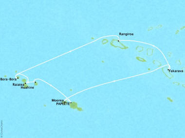 Cruises Oceania Riviera Map Detail Papeete, French Polynesia to Papeete, French Polynesia February 3-13 2018 - 10 Days