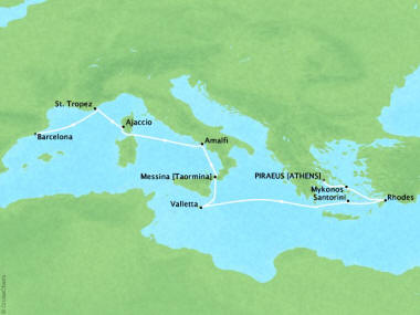 Cruises Oceania Riviera Map Detail Piraeus, Greece to Barcelona, Spain July 22 August 1 2018 - 10 Days