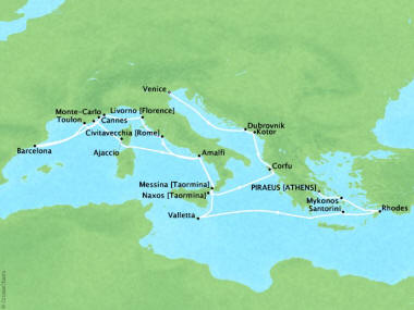 Cruises Oceania Riviera Map Detail Piraeus, Greece to Venice, Italy July 22 August 13 2018 - 22 Days