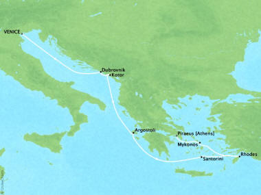 Cruises Oceania Riviera Map Detail Venice, Italy to Piraeus, Greece July 4-12 2018 - 8 Days
