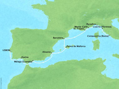 Cruises Oceania Riviera Map Detail Lisbon, Portugal to Civitavecchia, Italy June 16-26 2018 - 10 Days