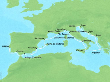 Cruises Oceania Riviera Map Detail Lisbon, Portugal to Venice, Italy June 16 July 4 2018 - 18 Days