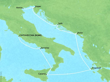 Cruises Oceania Riviera Map Detail June 26 July 4 2018 -  Days