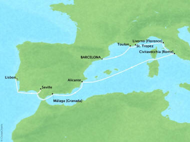 Cruises Oceania Riviera Map Detail Barcelona, Spain to Lisbon, Portugal June 6-16 2018 - 10 Days