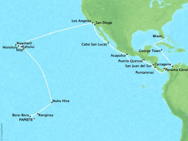 Cruises Oceania Riviera Map Detail Papeete, French Polynesia to Miami, FL, United States March 19 April 22 2018 - 34 Days