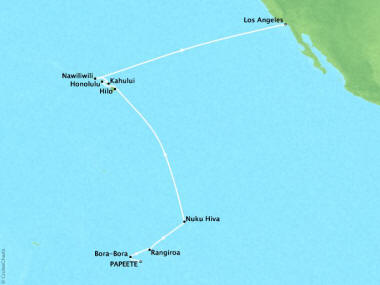Cruises Oceania Riviera Map Detail Papeete, French Polynesia to Los Angeles, CA, United States March 19 April 6 2018 - 18 Days