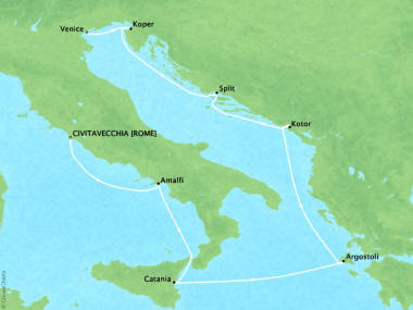 Cruises Oceania Riviera Map Detail Civitavecchia, Italy to Venice, Italy May 17-25 2018 - 8 Days