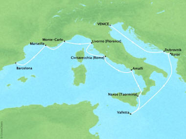 Cruises Oceania Riviera Map Detail Venice, Italy to Barcelona, Spain May 25 June 6 2018 - 11 Days