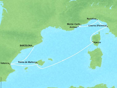 Cruises Oceania Riviera Map Detail Barcelona, Spain to Monte Carlo, Monaco May 3-10 2018 - 7 Days