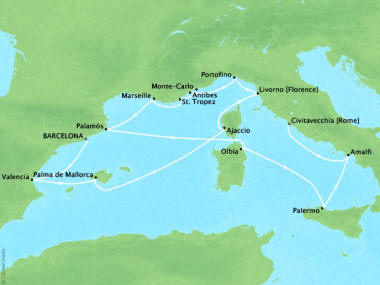 Cruises Oceania Riviera Map Detail Barcelona, Spain to Civitavecchia, Italy May 3-17 2018 - 14 Days