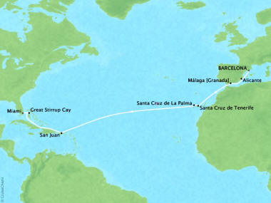 Cruises Oceania Riviera Map Detail Barcelona, Spain to Miami, FL, United States November 13-27 2018 - 14 Days