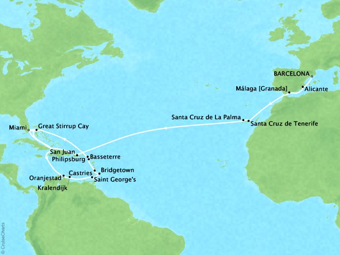 Cruises Oceania Riviera Map Detail Barcelona, Spain to Miami, FL, United States November 13 December 9 2018 - 26 Days