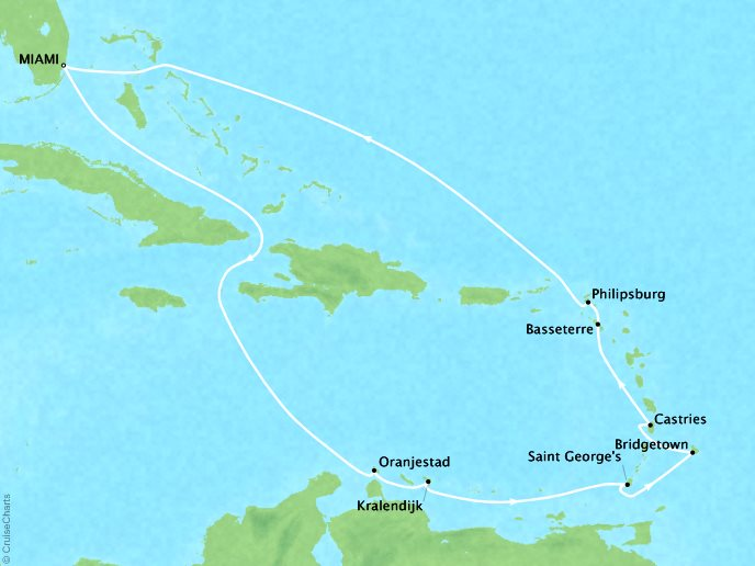 Cruises Oceania Riviera Map Detail Barcelona, Spain to Miami, FL, United States November 27 December 9 2018 - 12 Days