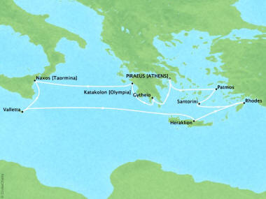 Cruises Oceania Riviera Map Detail Piraeus, Greece to Piraeus, Greece October 14-24 2018 - 10 Days