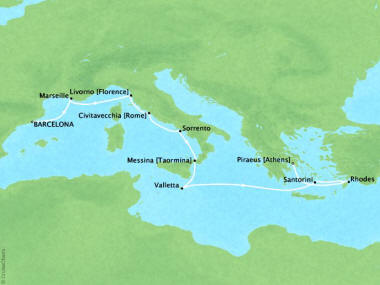 Cruises Oceania Riviera Map Detail Barcelona, Spain to Piraeus, Greece October 4-14 2018 - 10 Days