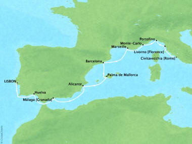 Cruises Oceania Riviera Map Detail Lisbon, Portugal to Civitavecchia, Italy September 14-24 2018 - 10 Days