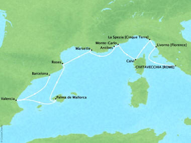 Cruises Oceania Riviera Map Detail Civitavecchia, Italy to Barcelona, Spain September 24 October 4 2018 - 10 Days