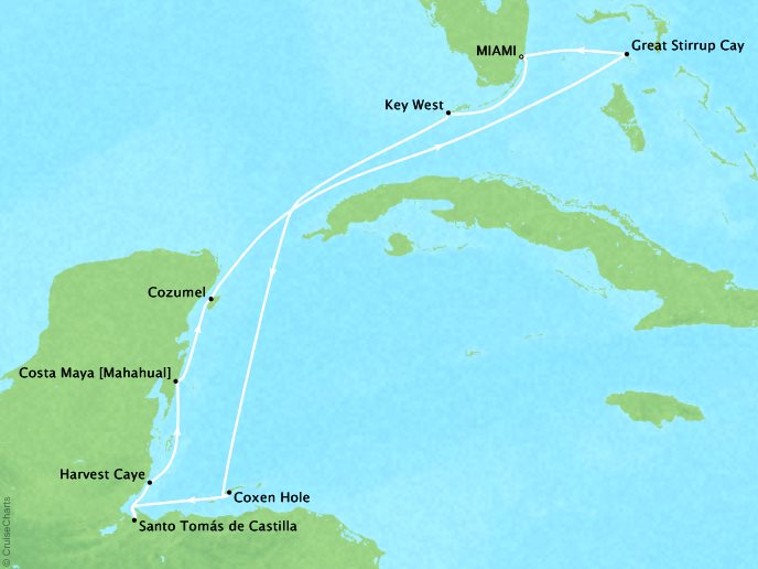 Cruises Oceania Riviera Map Detail Miami, FL, United States to Miami, FL, United States January 26 February 5 2019 - 10 Days