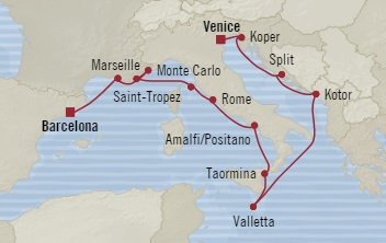Singles Cruise - Balconies-Suites Oceania Sirena April 27 May 11 2019 Barcelona, Spain to Venice, Italy
